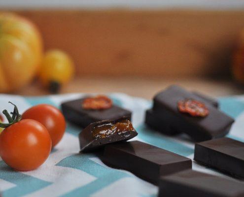 cherry tomato and vanilla chocolates
