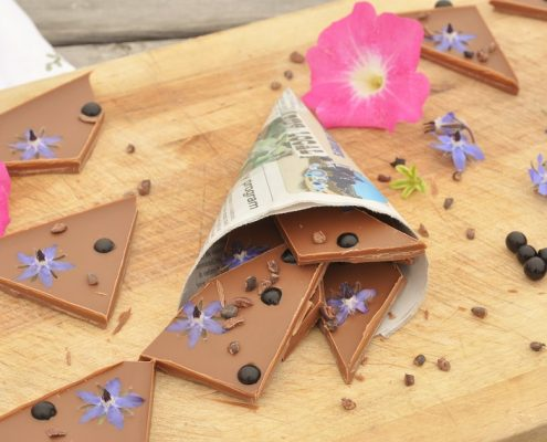 sunberries and borage milk chocolate bark