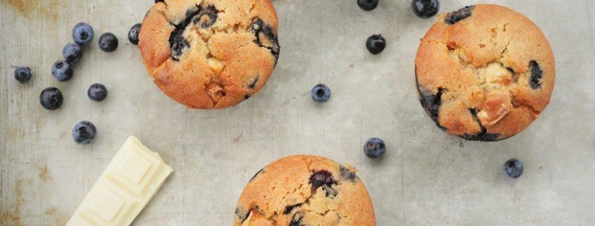 muffins aux bleuets sauvages et chocolat blanc