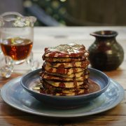 country-pancakes-chocolate sauce and maple syrup