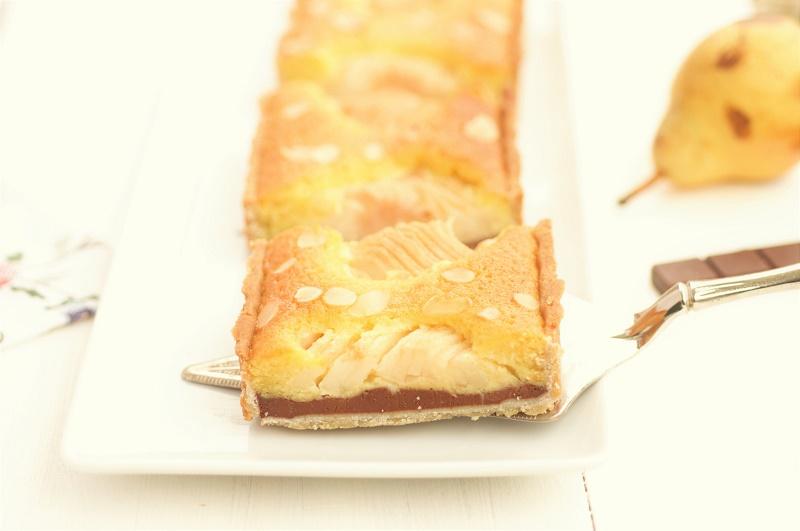 pear almond & chocolate tart slice