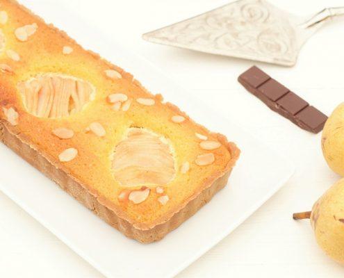 Pear, almond & chocolate tart